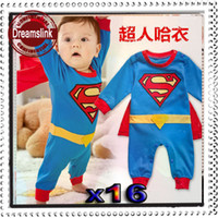 Wholesale Spring Autumn clothing Free Shiping sets Batman Superman Baby Romper Baby Dress Smock Baby Cloak Infant Costume DHL EMS Fede