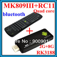 Wholesale A MK809 III RC11 New arrival Mini PC Quad core RK3188 android tv box GB ROM bluetooth wifi fly air mouse