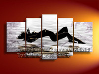 Cheap Wholesale - Framed 5 Panels 100% Handpainted High End Amazing Modern Oil Painting Beatiful Nude Girl on Canvas Wall Art--S0072