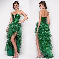 Reference Images emeralds - Sexy Emerald green sweetheart hi lo organza graduation dresses beaded sequin ruffles prom dresses cocktail homecoming gowns