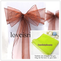 Wholesale 8 quot cm W x quot cm L Brown Color Sheer Organza Chair Sash Wedding Banquet Bow Chair Cover Sash Party Bridal Decor
