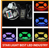 Wholesale 5m LED RGB color changing non waterproof fleixble strips set Keys IR remote controller V A W power adapter