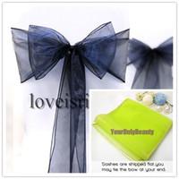 Wholesale 8 quot cm W x quot cm L Navy Blue Color Sheer Organza Chair Sash Wedding Banquet Bow Chair Cover Sash Party Bridal Decor