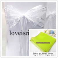 Wholesale 8 quot cm W x quot cm L White Color Sheer Organza Chair Sash Wedding Banquet Bow Chair Cover Sash Party Bridal Decor