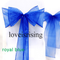 "Personalized Wedding Favors 100% brand new and First quality Organza Fabric Sheer Organza Free Shipping-100pcs 8""(20cm)W x 108""(275cm)L Royal Blue Sheer Organza Chair Sash Wedding Banquet Bow,Chair Cover Sash Party Bridal Decor"