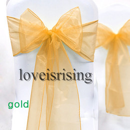 Wholesale quot cm W x quot cm L Gold Sheer Organza Chair Sash Wedding Banquet Bow Chair Cover Sash Party Bridal Decor