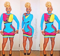 Sexy Costumes People Movie/Music Stars 2014 Fashion Keyshia Kaoir's Brush Multi Color Prom Dresses Celebrity Bodycon Dress Hollow Out Sexy Club Wear Bandage Dresses
