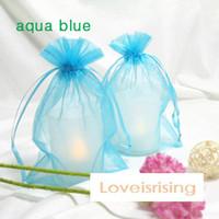 Pink aqua organza bags - High Quality Aqua Blue Color cm cm quot x6 quot Sheer Organza bag Wedding Favors Gift Wrapping Bag