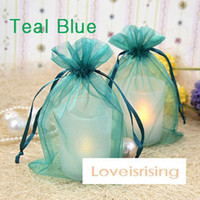 Wholesale High Quality Teal Blue Color cm cm quot x6 quot Sheer Organza bag Wedding Favors Gift Wrapping Bag