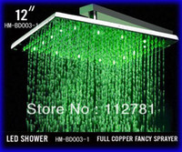 Cheap Wholesale - 12 Inch Bathroom Square Brushed Nickle Overhead LED Rainfall Shower Head - Free Shipping (D003-1)