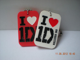 50PCS Lot One Direction I Love 1D Silicone Dog Tag With Short Ball Chain Perfect To Use In Any Benefits Gift
