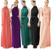 Wholesale New Fashion Women Sexy Strapless Chiffon Bohemian Maxi Long Beach Dress Summer Casual Dress