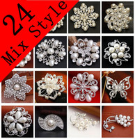 pearls - 24 Mix Style Wedding Brooches Silver Pearl Crystal Rhinestone Flower Bouquet Butterfly Brooch Pins Best Gift NL018