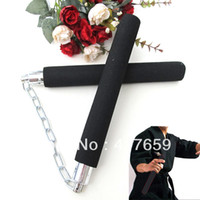 Wholesale New arrival Black Nunchuck Foam Sponge Metal Chain Safe Martial Art Nunchaku Prop Training exercise Hot