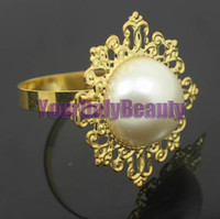 Wholesale Free DHL Shipping High Quality Ivoy Pearl Gold Plated Vintage Style Napkin Rings Wedding Bridal Shower Napkin holder