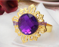 Wedding Table Decoration Napkins & Napkin Rings 100% brand new and First quality Free DHL Shipping-100pcs lot 100% High Quality Purple Gem Gold Plated Vintage Style Napkin Rings Wedding Bridal Shower Napkin holder