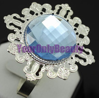 Iron ECO Friendly 100% brand new and First quality Free DHL Shipping-100pcs lot 100% High Quality Sky Blue Gem Silver Plated Vintage Style Napkin Rings Wedding Bridal Shower Napkin holder