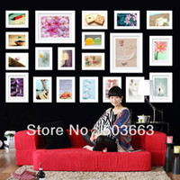 Cheap Wholesale - Fashion 20 Pcs White Color Solid Wood Combination Wall Mounted Picture Photo Frame Foam Art Home Decor L-A60