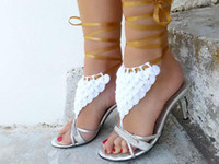 Wholesale 6 off pairs Crocodile Stitch Barefoot Sandal White Wedding Barefoot sandles Sexy lingerie foot jewelry Leg accessory Nude shoes