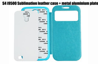 For Samsung Leather White sublimation leather protector case For samsung galaxy S4 i9500 with metal aluminium plate. free shipping DHL or FEDEX