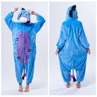 Wholesale Fashion Adult Kigurumi Pajamas Animal onesies jumpsuit cosplay costume hoodies comfortable sleepwears dinosaur Blue donkey