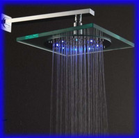 Cheap Wholesale - Free Shipping Temperature Sensing 3 Colors (Blue,Green,Red) LED Overhead Shower Chromed Brass Rain Shower Head TS09-1