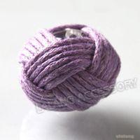 Bead Caps Fashion Beads Wholesale!!!72pcs lot New Purple Chinese Knot Wax Cords Acrylic Beads Fit Jewelry Making 14mm 111565