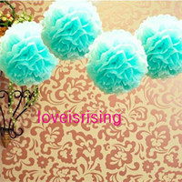 Wholesale 20pcs Blue Color quot cm Tissue Paper Pom Poms Flower Balls Wedding Party Decor Paper Crafts Mixed Colors uPick