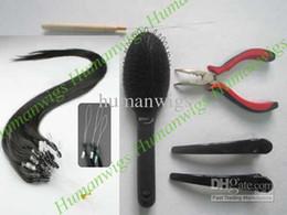 Micro ring loop Hair Extension kits( loop hair extension Natural black +pliers+needle+brush+clips)
