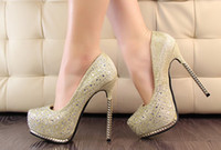 Wholesale NEW Korea Lady Rhinestone Dress Shoes Women High Heel Fashion Shoes High Quality Cheap Shoes HN32770