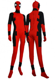 Wholesale Treasure box Red X Men Deadpool Halloween Lycra Spandex Zentai costume Deadpool cosplay Deadpool