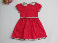 Wholesale Summer kids dress Cotton Baby Girls Dresses Kids Plaid Clothing Lattice lapel Princess Dress color p l