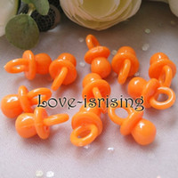 100% brand new and First quality cupcake charm - Tracking number mm mm Solid Orange Mini Acrylic Baby Pacifier Baby Shower Favors Cute Charms cupcake decorating