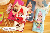 Wholesale fancy cute little red bind belt high capacity pen bag good gift Pencil Bag school pencil bag