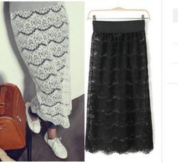 Wholesale Hot Sale New Spring Korean Women s Full Lace Skirts Crocheted elastic waist Dresses long style Skirts