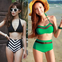 Wholesale 2014 New Vintage High Waist Navy Style Bikini High Waist Bikini Swimwear Bathing Suits Bikini Bottom Swimwear Women