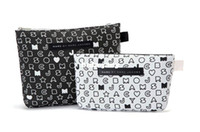 Cosmetic Cases makeup for women of color - Fashion Cosmetic Bags Black and White Color with Letters Pattern for Women Makeup Storage Bags Set of