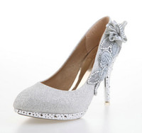 Wholesale Hot Sales Women Fashion High Heels Shoes Silver Sequins Cloth Bridal Wedding Dress Shoes Size Low Price
