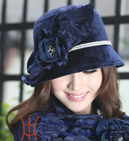 Wholesale Fashion dress vintage women hat winter warm velvet hat with flower printed navy color fedoras cloche