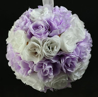 Wholesale Hot quot Light Purple White Rose Flower Kissing Ball Wedding Flowers Decoration