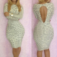 Casual Dresses V_Neck Sheath 2014 Bandage Dress S M L Plus Size Women New Fashion Sexy Naked Printed Spring Long Sleeve Bodycon Casual Dress YH012