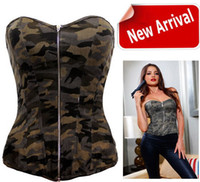 Wholesale New camouflage Military Corsets sexy Shaper wear Plus size Design Gothic Corpete Brocade bone bodysuit women lingerie Tops
