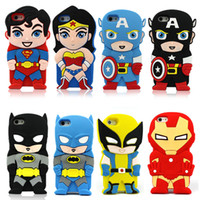 Wholesale 3D Cartoon Venom Ironman Captain America Spider Superman Bat Man Batgirl Superhero Comics Rubber Case For iPhone S S iPod Touch