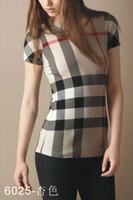 brand fashion t-shirt - Women T Shirt Fashion Short Sleeve T shirt beige pink Plaid Brand Designer O Neck Women s T shirt S XXL