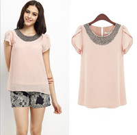 Short Sleeve Chiffon  Wholesale Europe and the United summer 2014 new women round neck loose hand beaded wild apricot pink lotus sleeve chiffon Blouses Ewsd4442