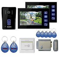 "Cheap Wholesale - New 7"" Color Hands Free Video Door phone with 2 Monitors(RFID keyfobs,Electronic Controlling Lock)"