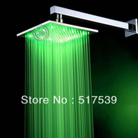 Cheap Wholesale - 10 inch Durable solid brass LED overhead shower Head showerhead temperature sensor light rain water power LED101000