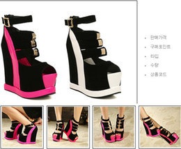 2017 taille 34 talon rose Femmes couleur élégante Bump Black avec sandales roses, super haute Platform Wedge talon Sandals Taille 34-39 taille 34 talon rose offres