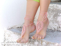 Hotel Shoe Decorations Neutral Drop ship!Coral barefoot sandals,Barefoot sandles,peach crochet nude shoes,knitted foot jewelry, wedding sexy anklets.8pairs 16pcs