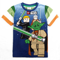 Wholesale C2796 kids wear boys cartoon clothing printed star wars fashion short sleeve brand T shirts for boys